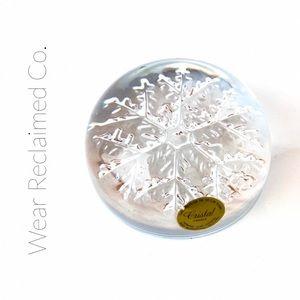 Vintage Lead Crystal Snowflake Paperweight
